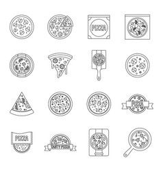 pizza icons set food outline style vector image vector image
