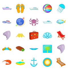 relax on the ship icons set cartoon style vector image