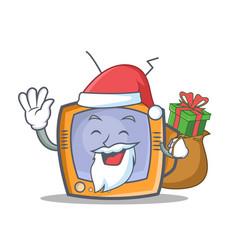 santa tv character cartoon object with gift vector image vector image