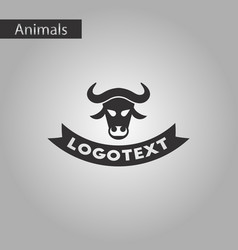 black and white style icon bull logo vector image