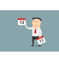Businessman woth calendar of last month of year vector image vector image