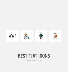 flat icon disabled set of injured handicapped man vector image