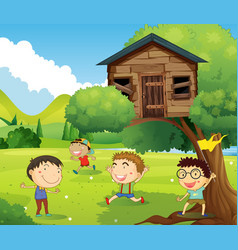four boys playing in treehouse vector image vector image