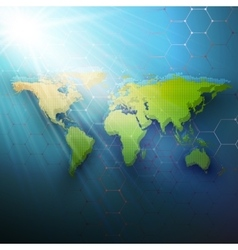 Green dotted world map connecting lines and dots vector image