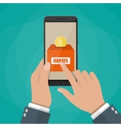 Hand holding smartphone with donate application vector image vector image