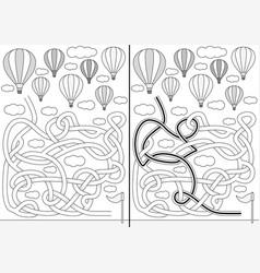 hot air balloon maze vector image vector image