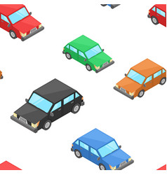 isometric cars as seamless patter vector image