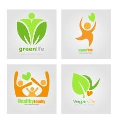 Logos set vegetarian vegan organic food diet vector image