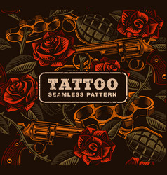 weapon with roses tattoo seamless pattern vector image