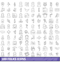 100 folks icons set outline style vector