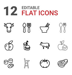 12 eat icons vector