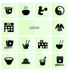 14 asian icons vector