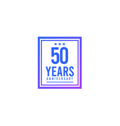 50 years anniversary blue square design logo vector
