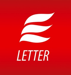 Abstract logo letter e in the form of petals vector