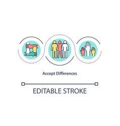 Accept differences concept icon vector