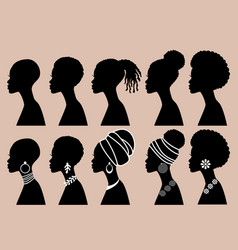 african women black girls profile silhouettes vector image