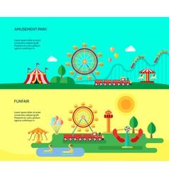 Amusement Park 2 Flat Horizontal Banners vector image