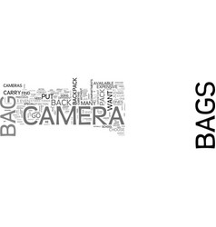 Back pack camera bag text word cloud concept vector