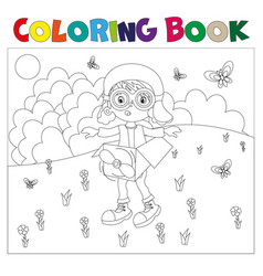 Black and white book-coloring the boy plays in the vector