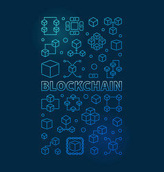 Blockchain technology blue vertical outline banner vector