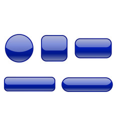 Blue buttons collection of matted shaped signs vector