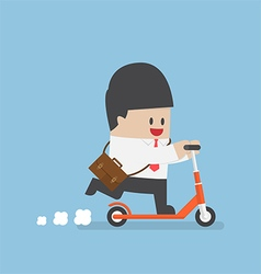 Businessman with briefcase on a kick scooter vector