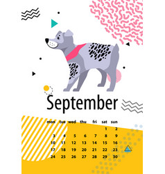 calendar for september of 2018 with pedigree dog vector image