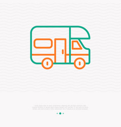 Camping truck thin line icon vector