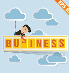 Cartoon Businessman with business billboard vector image