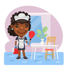 cartoon maid is cleaning vector image