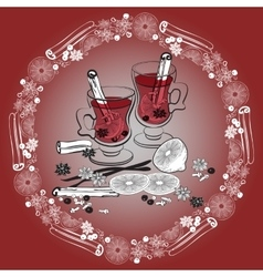 Christmas mulled wine Glass of drink and hand vector