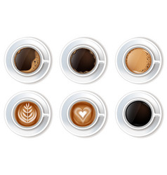 coffee cups set realistic top view 3d vector image