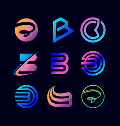 Collection letter logo b color gradient vector