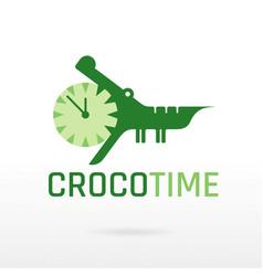 Crocodile alligator wild animal icon text vector