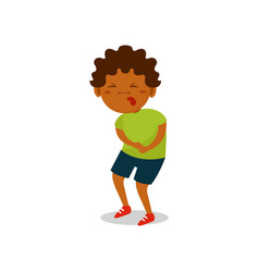 Cute african american boy suffering from stomach vector
