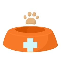 Dog bowl icon cartoon style vector