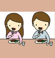 Eating boy and girl vector image