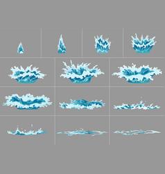 Element water splashes animation frame set vector