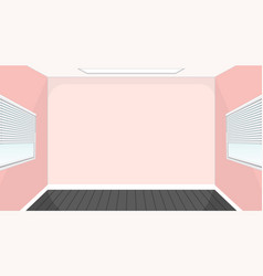Empty room with black floor and pink walls vector