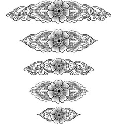 ethnic indian line art border vector image
