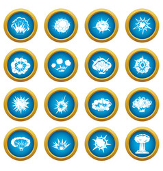 explosion icons blue circle set vector image