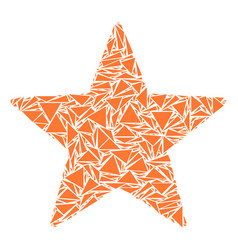 Five pointed star mosaic of triangles vector