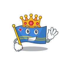 Flag aruba character king cartoon style mascot vector