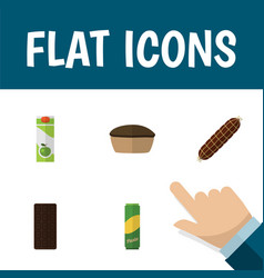 flat icon eating set of smoked sausage tart vector image