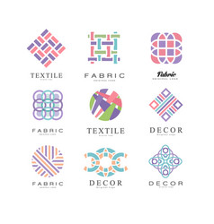 Flat set of abstract logos for fabric vector