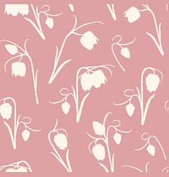 floral seamless pattern spring tulip flowers stem vector image
