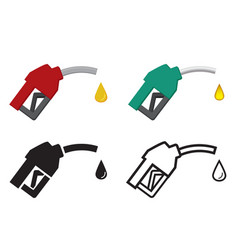 Fuel nozzle and oil drop oil energy icon vector