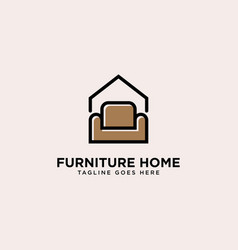 Furniture home logo simple line logo template vector