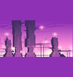 Future night city with futuristic skyscrapers vector