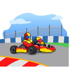 Gokart racer on the race track vector